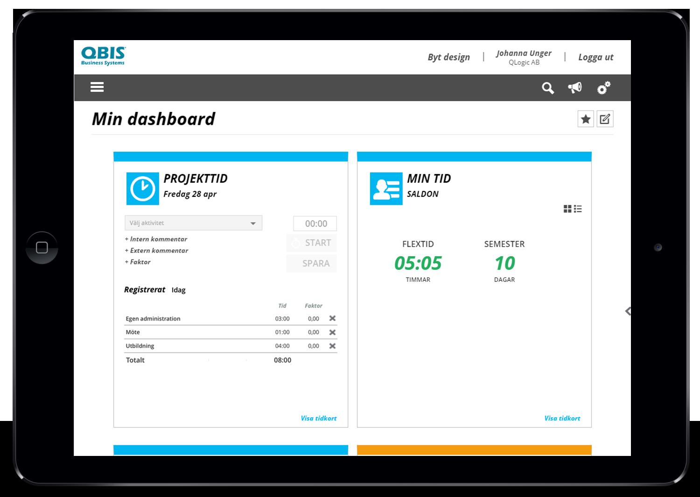 Vy över projekttid i QBIS på en surfplatta