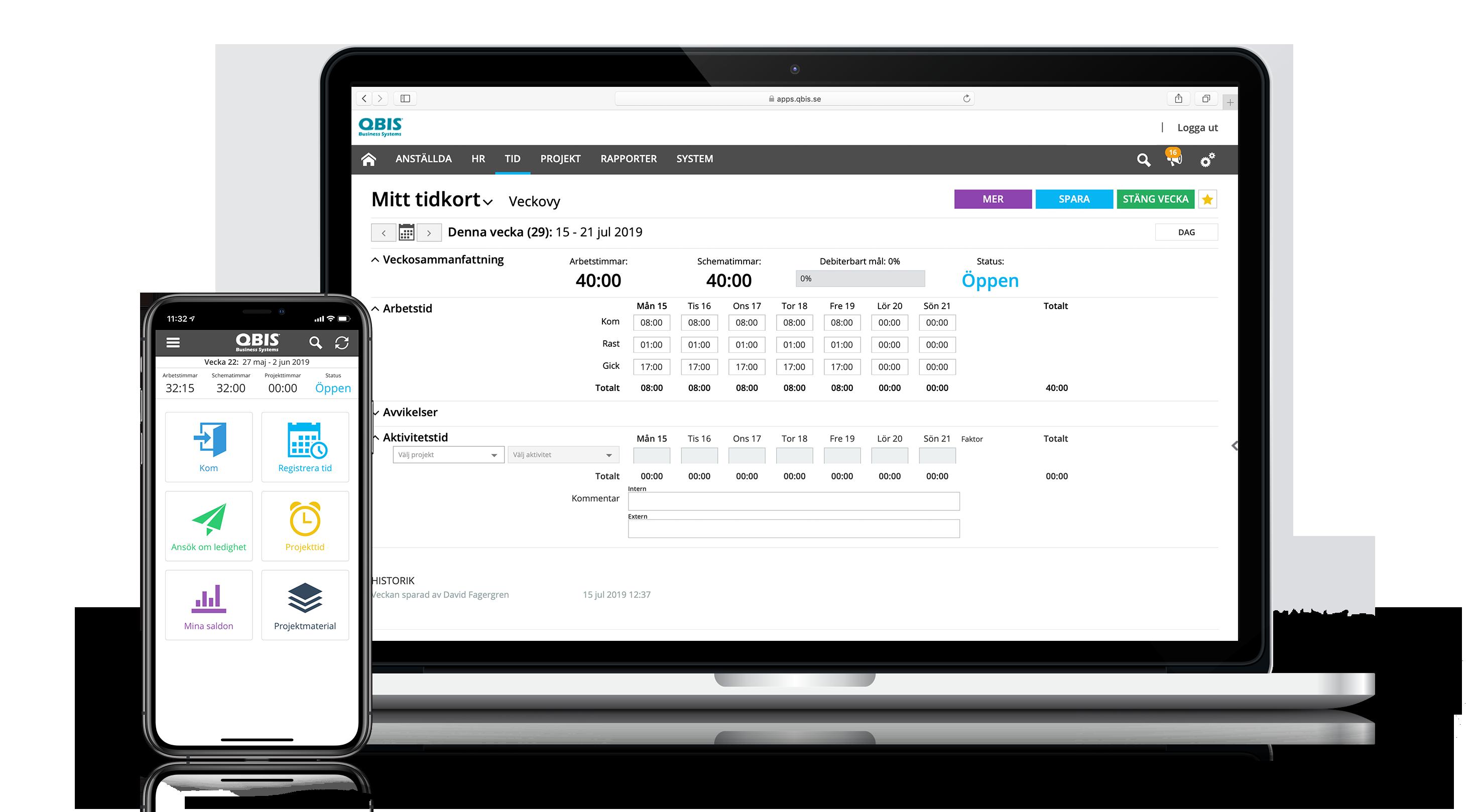 QBIS Tid i mobil och på webbläsare i dator