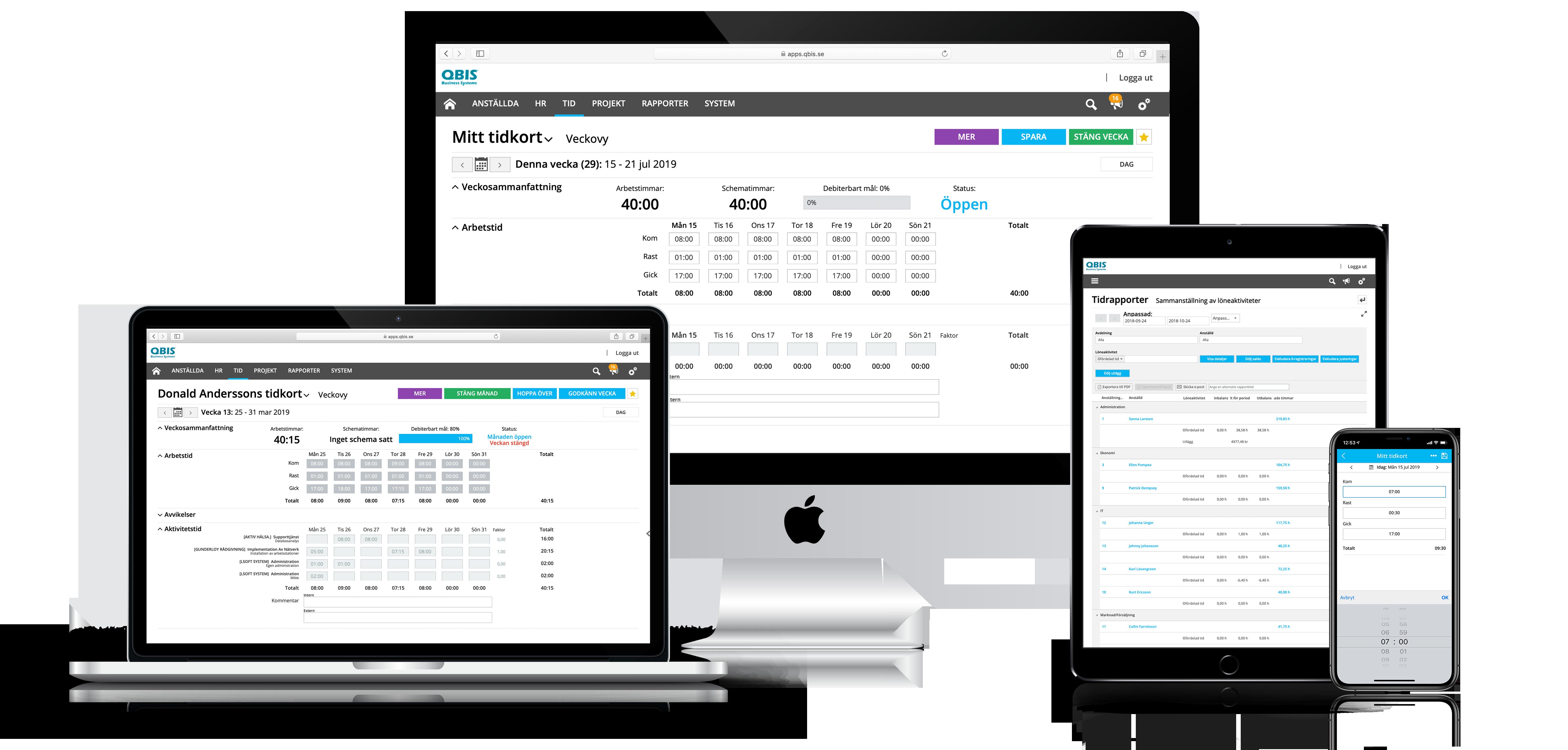 QBIS Tid är tillgängligt på alla typer av enheter